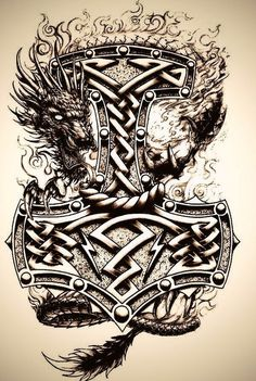 S hammer tattoo ideas шаблон тату, тату ve татуировки. Viking Tattoo Symbol, Norse Tattoo, Viking Tattoo Design, Celtic Tattoos, Celtic Raven Tattoo, Tattoo Symbols, Tattoo Thor, Thor Hammer Tattoo, Shield Tattoo