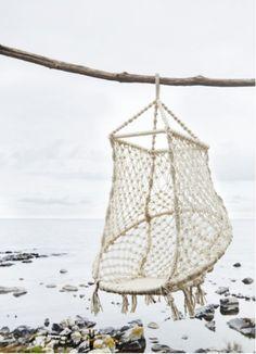 Madam stoltz macramé hangstoel gemaakt van grof touw in een zeer stevig en decoratieve chill stoel