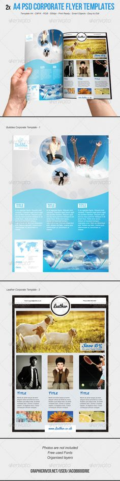 Buy Corporate Flyer Template by Cause on GraphicRiver. These Flyer Templates is great for any business no matter what size to promote their product or service. Yearbook Layouts, Yearbook Design, Corporate Flyer, Business Flyer, Corporate Design, Brochure Layout, Brochure Design, Ad Design, Flyer Design
