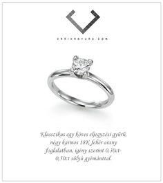 Klasszikus eljegyzési gyűrű. Engagement Rings, Jewelry, Enagement Rings, Wedding Rings, Jewlery, Jewerly, Schmuck, Jewels, Jewelery