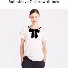 Ivory J. Crew Roll-sleeve T-shirt with bow J. Crew T-shirt • bow accent• Roll-sleeve short sleeve• loose fitting• perfect for office or everyday looks J. Crew Tops Tees - Short Sleeve