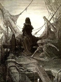 Gustave Dore, Game w Death illustration for The Rime of the Ancient Mariner 1866 Gustave Dore, Francisco Goya, Arte Obscura, Peter Paul Rubens, Fairytale Art, Expositions, Wood Engraving, Strasbourg, French Artists