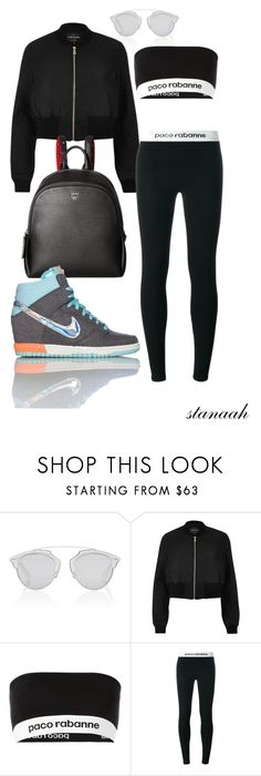 """tick"" by s-arsenic ❤ liked on Polyvore featuring Christian Dior, River Island, Paco Rabanne, MCM and NIKE"