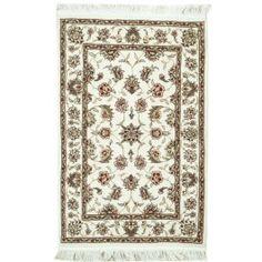 Handmade Rectangular Persian Tabriz Area Rug in Beige, 2x3 area rugs