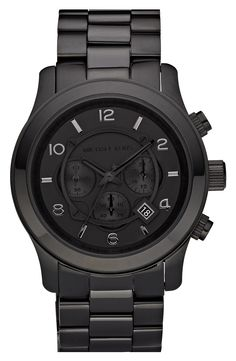 Men Watches – Michael Kors 'Blacked Out Runway' Chronograph Watch
