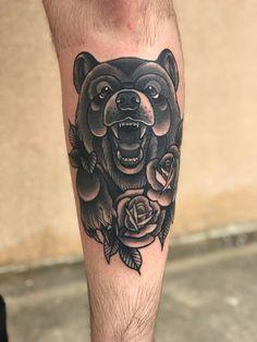 Neo traditional bear by Melanie @ Dark Matter Tattoos, Orange Park, FL : tattoos - Tattoo MAG Forarm Tattoos, Bear Tattoos, Elephant Tattoos, Animal Tattoos, Sleeve Tattoos, Ship Tattoos, Ankle Tattoos, Arrow Tattoos, Word Tattoos