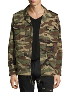 Love Force Canvas Military Jacket, Camouflage