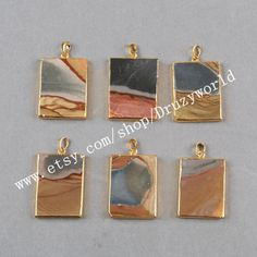 3Pcs&5Pcs Gold Plated Rectangle Succor Creek Jasper Pendant Bead Gold Electroplated Natural Grey Stone Pendant Veins Gemstone Jewelry G0469 by Druzyworld on Etsy