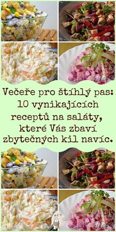 Salad Recipes, Diet Recipes, Cooking Recipes, Healthy Recipes, Czech Recipes, Ethnic Recipes, Good Food, Yummy Food, Vegetable Salad