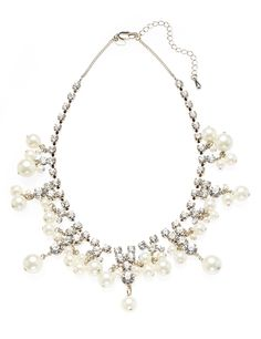 M&S Collection Diamanté & Faux Pearl Drop Necklace
