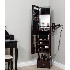 Best Choice Products Full Length LED Mirrored Jewelry Storage Organizer Cabinet w/Interior & Exterior Lights - Black Makeup Storage Cabinet, Hanging Makeup Organizer, Mirror Jewelry Storage, Makeup Storage Organization, Jewelry Cabinet, Jewellery Storage, Locker Storage, Storage Ideas, Hang Jewelry
