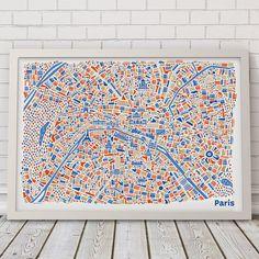 Affiche de Paris Carte illustré par VianinaPoster sur Etsy