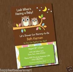 Owl Printable Baby Shower invitation Happi Tree boy Birthday Party Invite unisex