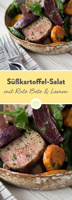 In diesem Salat wird das hauchzarte Lamm von knackigem Babyspinat, aromatischer Roter Bete und dem süßlichen Geschmack der Süßkartoffeln begleitet.