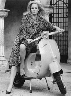 Ursula Andress on a Vespa Scooter in Italy.