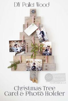 Adorable way to display Christmas cards: DIY Pallet Wood Christmas Tree Photo & Card Holder @Remodelaholic