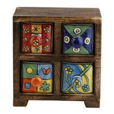 Gall/&Zick Com/ò in legno con cassetti in ceramica Ceramica com/ò Cassettiera