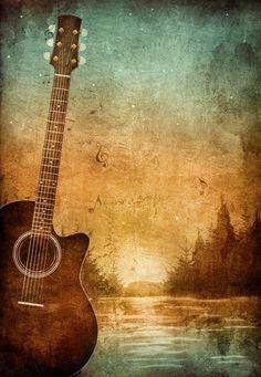 """""""Guitarra Sunset"""" Un cuadro con armonía en todos los sentidos. Una guitarra sobre un idílico paisaje de bellos colores."""