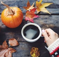 Leaves, pumpkins, and coffee.