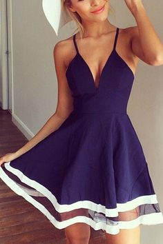 Cheap Beautiful Blue Strap V Neck Sleeveless Lace End Mini Princess Dress