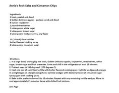 Jim Bob and Mae Recipe of the Day     Annie's Fruit Salsa and Cinnamon Chips  http://www.dailyrecipedoctor.com/