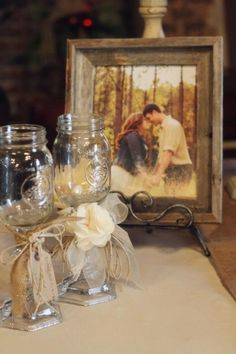 Kerrie & Marshall's rustic wedding at Hutcheson Plantation. Old window frame with engagement photo and glass added for display at wedding. Photo by La Bella Vita Photography. by doris
