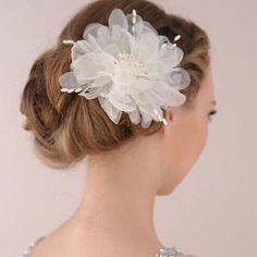 >> Click to Buy << Metting Joura Wedding Party White Silk Flower Hair Pin For Women & Girls Bride Pearl Floral Hair Accessories #Affiliate