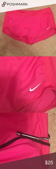 Nike Dri-Fit Shorts Pink Nike dri-fit shorts w/ drawstring to make waist tighter if needed! NEW WITH TAGS (actual tag was ripped off in the store but bought brand new!) Nike Shorts