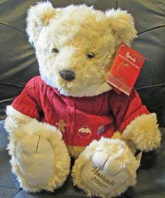 "Harrods Bear 2009 Plush Maxwell 13 "" Sitting Large Red Sweater Hoodie Christmas  #Harrods #Christmas"
