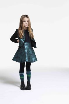 Shimmering brocade two piece for girls at Kenzo fall 2016 collection