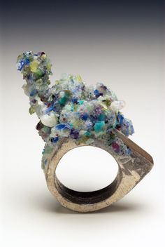 Splitterguss ring by Kelvin J Birk - crushed precious stones - epoxy resin- silver