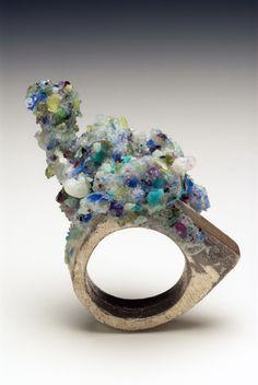 Splitterguss ring by Kelvin J Birk - crushed precious stones - epoxy resin- silver