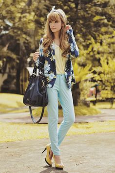 Floral blazer + yellow top + blue pants + yellow peep toe heels + bag.
