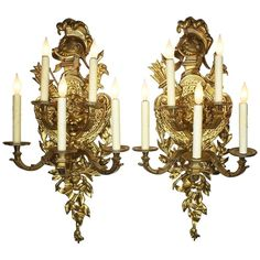 For Sale on - A pair of French century Regence style gilt bronze five-light figural wall lights, each with a ribbon-tied back-plate suspending a plumed helmet Wall Lights, Ceiling Lights, Bronze, Back Plate, French Furniture, Acanthus, London Art, Candelabra, Regency