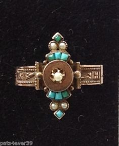 VICTORIAN RING 4of9 Turquoise Seed Pearls c.1880