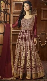 Mouni Roy Maroon Color Embroidered Georgette Long Anarkali Suit.  #floorlengthanarkaligown #latestanarkalidesigns2016  Exhibit the true essence of spring dolled up in this Mouni Roy maroon color embroidered georgette long Anarkali suit. The lace, resham and stones work appears to be like chic and best for any event.  USD $ 95 (Around £ 66 & Euro 72)