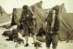 British mountaineers George Mallory and Andrew Irvine, both members of the Mount Everest expeditions in 1922 and 1924, are seen at base camp in Nepal. The pair was preparing to climb the peak of Mount Everest in June of 1924. It is the last image of the men before they disappeared on the mountain.