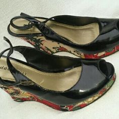 "Madden Girl Wedges 'ADDEY' 6.5 M Wow, this rarely seen pair is in good, clean condition.  Faux patent leather upper has few marks, not perfect but not that noticeable either.  Approx 3"" wedge heel. Such a pretty pair. Madden Girl Shoes Mules & Clogs"