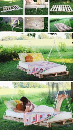 Easy DIY Backyard Projects with Lots of Tutorials – For Creative Juice DIY Pallet Swing Bed: This swing bed can be made as simply as just using a pallet and rope. Then add a mattress and some pillows for a comfortable addition to your backyard. Outdoor Pallet Projects, Backyard Projects, Wood Projects, Backyard Ideas, Furniture Projects, Nice Backyard, Diy Pallet Bed, Pallet Patio, Furniture Movers