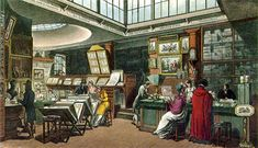 """An interior view of the Repository of Arts taken from Rowlandson & Pugin's """"Microcosm of London"""" (1808)."""