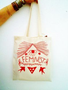 Feminist Eco Friendly Hand Painted Tote Bag by PINKJALUZI on Etsy, $20.00