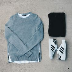 H&m side zip crew neck, T by Alexander Wang tee, Black h&m skinnies and adidas superstars