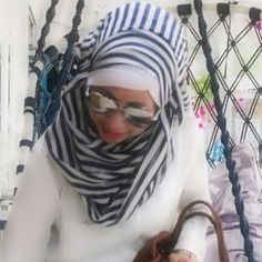 Hijab white and strips
