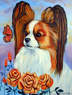 Papillon in The Roses House Vertical Flag