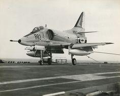Royal Australian Navy A4-G Skyhawk 1980 arresting in the HMAS Melbourne A/C Carrier
