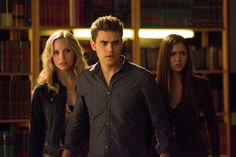 """The Vampire Diaries -- """"After School Special"""" -- Pictured (L-R): Candice Accola as Caroline, Paul Wesley as Stefan, and Nina Dobrev as Elena -- Image Number: VD410c_0264.jpg -- Photo: Bob Mahoney/The CW -- ©2013 The CW Network, LLC. All rights reserved."""