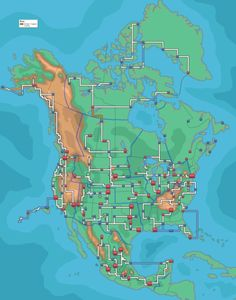 Poke map of North America