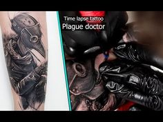 Tattooing time lapse - Close up - plague doctor realism. #tattoo #realism #doctorplague #art #sketch