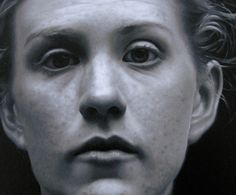 """Grey"" - Jessica Rebik, oil on panel {contemporary figurative artist and professor female head woman face portrait cropped painting} jessicarebik.com"
