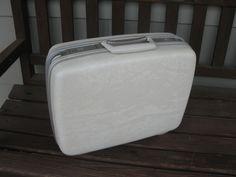 "Samsonite WHITE small Suitcase- Fitted Vanity- vanity case -carry on- retro luggage -19"" suitcase -honeymoon -overnight- wedding suitcase by oakiesclaptrap on Etsy"